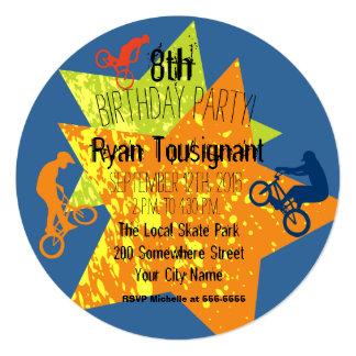 Extreme Biking Birthday Circle Invite