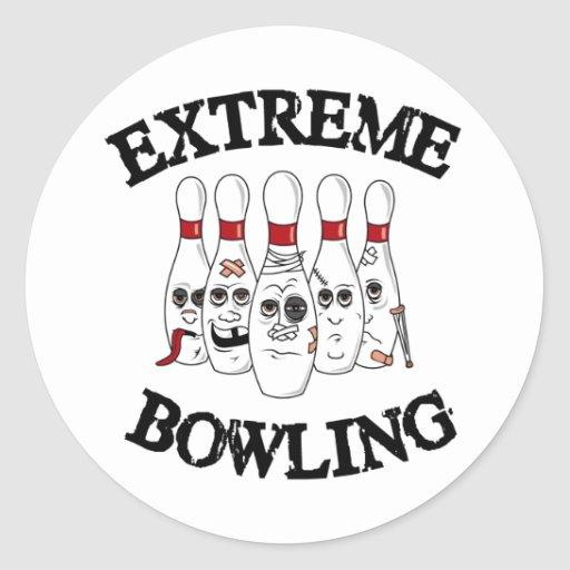 Extreme Bowling Round Stickers