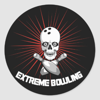 Extreme Bowling Skull & Cross Pins Classic Round Sticker