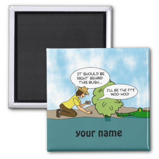 Extreme Cache Geocaching Cartoon Custom Name 2 Inch Square Magnet