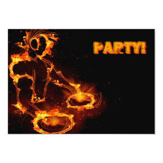 Extreme cool Flaming DJ party invitation. Card
