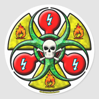 Extreme Danger Warning Classic Round Sticker