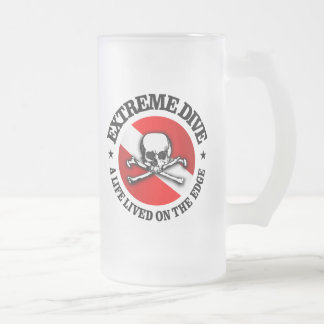 Extreme Dive (Skull) Frosted Glass Beer Mug