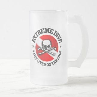 Extreme Dive (Skull) Frosted Glass Beer Mug