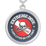 Extreme Dive (Skull) Round Pendant Necklace