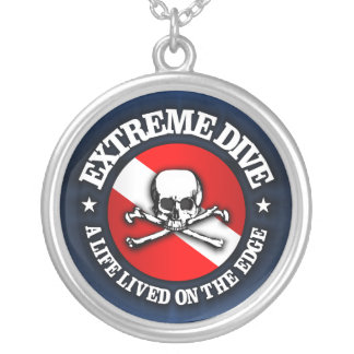 Extreme Dive (Skull) Silver Plated Necklace