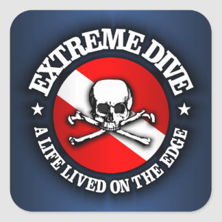 Extreme Dive (Skull) Square Sticker