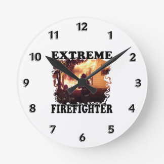 Extreme Firefighter Round Clock