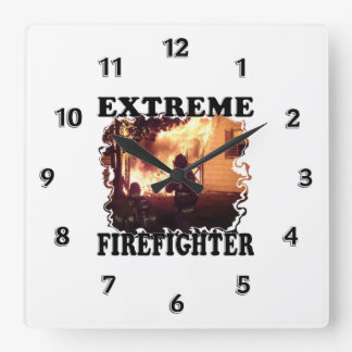 Extreme Firefighter Square Wall Clock
