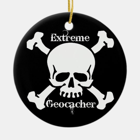 Extreme Geocacher Ornament with skull