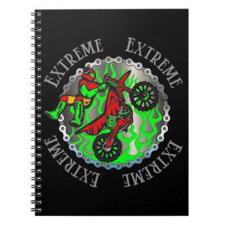 Extreme Green Flames Dirt Bike Jumper Notebook Spiral Notebook