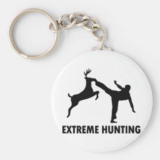 Extreme Hunting Deer Karate Kick Basic Round Button Keychain