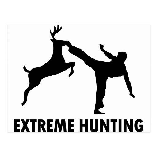 Extreme Hunting Deer Karate Kick Post Cards