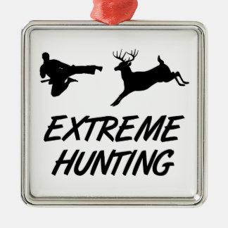 Extreme Hunting Karate Kick Deer Metal Ornament