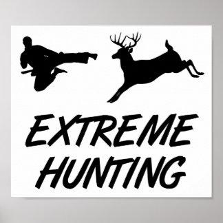 Extreme Hunting Karate Kick Deer Posters