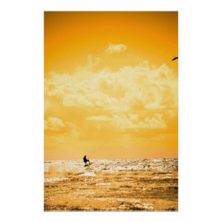 extreme kite surfer jumping waves poster