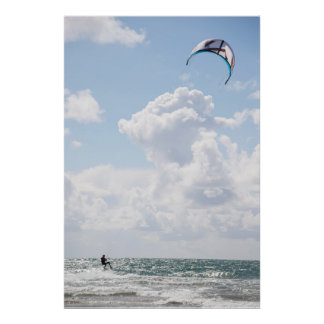 extreme kite surfer on fast ride poster