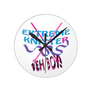 extreme knitter yeh boy! round clock