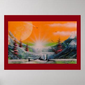 Extreme mountain scene print