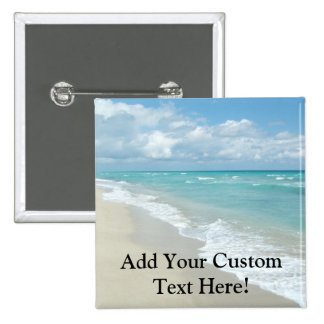 Extreme Relaxation Beach View White Sand 2 Inch Square Button