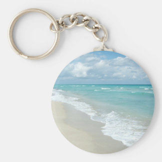 Extreme Relaxation Beach View White Sand Keychain