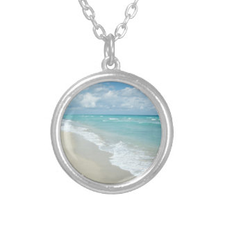 Extreme Relaxation Beach View White Sand Round Pendant Necklace