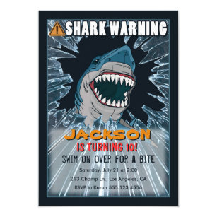 Boy birthday party invitations announcements zazzle extreme shark boys birthday party invitation filmwisefo