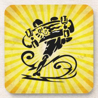 Extreme Skateboarder; yellow Beverage Coaster