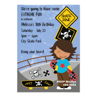 Extreme Skateboarding Party Card