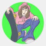 Extreme Skater Girl Stickers