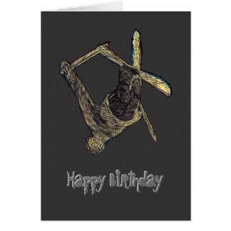 Extreme Ski Happy Birthday Card