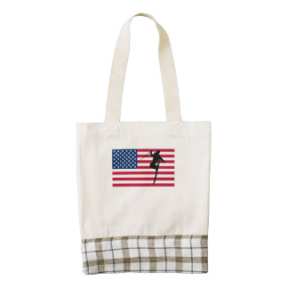 Extreme Skier American Flag Zazzle HEART Tote Bag