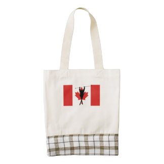 Extreme Skier Canadian Flag Zazzle HEART Tote Bag