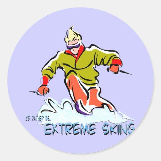 Extreme Skiing Classic Round Sticker