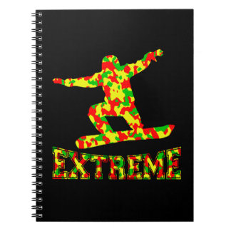 EXTREME SNOWBOARDER IN RED, GREEN, AND YELLOW CAMO NOTEBOOK