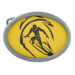 extreme_sport_003 SURFING DUDE TATTOO TRIBAL Oval Belt Buckles