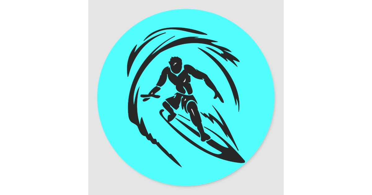 extreme sport 003 surfing dude tattoo tribal classic round sticker zazzle. Black Bedroom Furniture Sets. Home Design Ideas