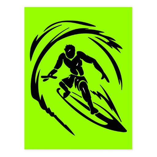 extreme_sport_003 SURFING DUDE TATTOO TRIBAL Postcards
