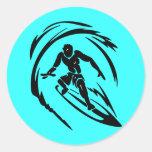 extreme_sport_003 SURFING DUDE TATTOO TRIBAL Classic Round Sticker