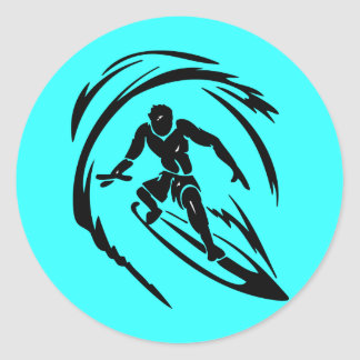 extreme_sport_003 SURFING DUDE TATTOO TRIBAL Round Stickers