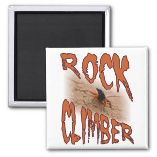 Extreme sports lizard: Rock climbing / climber 2 Inch Square Magnet
