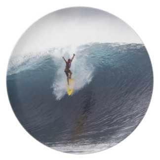 Extreme surfing big blue waves melamine plate