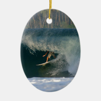 Extreme surfing deep in the barrel tropical waves ceramic ornament