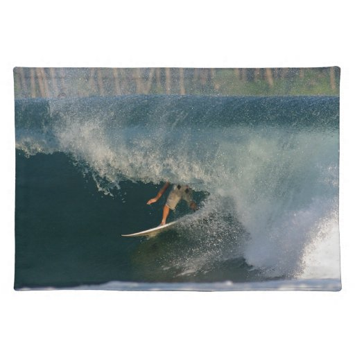 Extreme surfing deep in the barrel tropical waves cloth place mat
