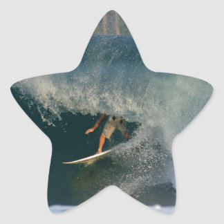 Extreme surfing deep in the barrel tropical waves star sticker