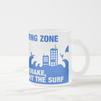Extreme Tsunami Surfers Frosted Glass Coffee Mug