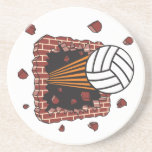extreme volleyball breaking brick wall drink coaster