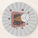 extreme volleyball breaking brick wall beverage coasters