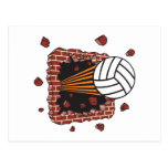 extreme volleyball breaking brick wall postcard