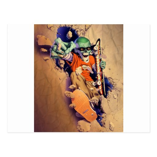 Extreme Zombies Skater - Wall Crasher Postcard